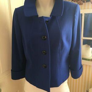 Tahari Royal Blue Blazer - 4 blue ,poly blend,
